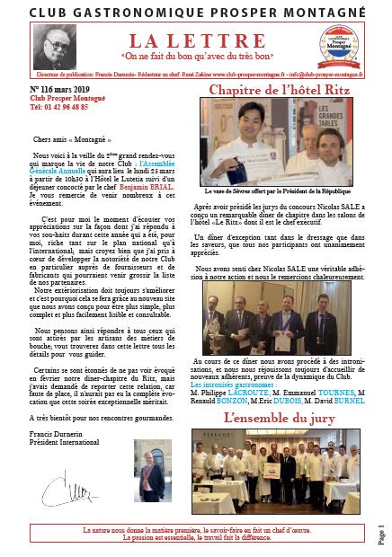 Newsletter Prosper Montagné mars 19
